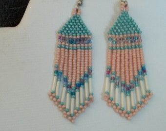 Long seed beaded earrings in pink, aqua and ivory