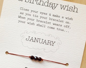 JANUARY - Birthday Wish Bracelet - Garnet - Waxed Irish Linen - Choose Your Own Color