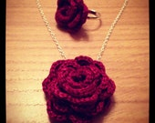 Crochet burgundy red rose necklace and matching ring and ideal Valentine's gift