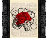 Octopus Red Rose Beach Art Print Poster Ocean Decor Nautical Decor Goth Art Love Quote Print Book Page Art Gothic Decor Gothic Painting 384
