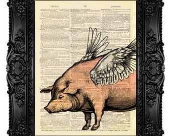 When PIGS FLY Vintage Art Print Antique 1800's Book Page or Dictionary Page Upcycled Recycled 19
