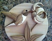 One of a kind Wood Hummingbird Plaque, Intarsia artistry