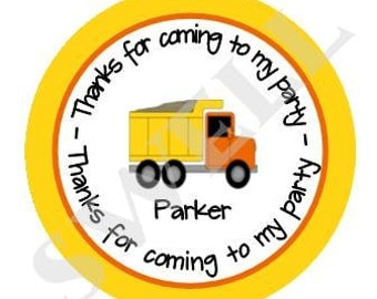 Printable 3-inch Dumptruck Birthday Party Favor Tag, Dumptruck Birthday, Digital Dumptruck Birthday by Swell Printing