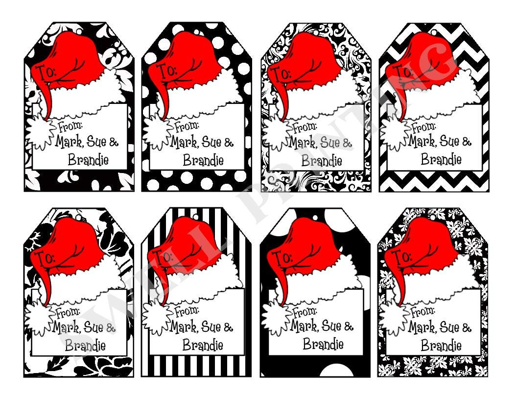 Printable Personalized Santa Hat Gift Tags Set 2 - Personalized ...