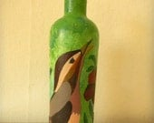 Der Vogel II. Unique Vivid Sparrow on a Green Yellow Background in With Red Flowers Painted Bottle Painting Hand Paint Painted