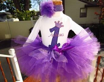 Purple crown number tee / bodysuit