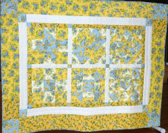 Blue and Yellow Floral Sampler Patchwork Quilt