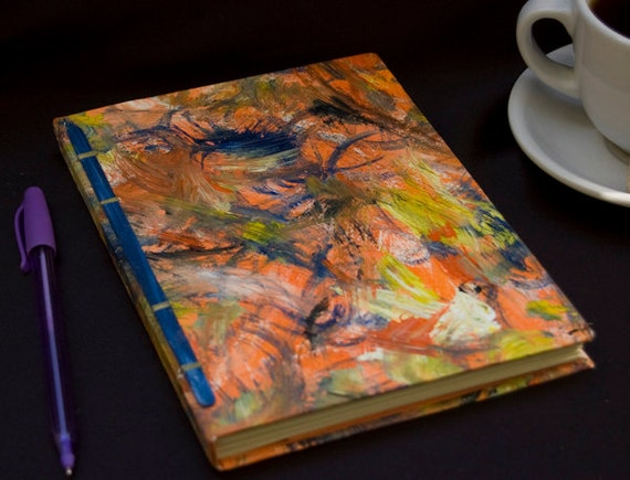Handbound Journal Orange and Blue Paint
