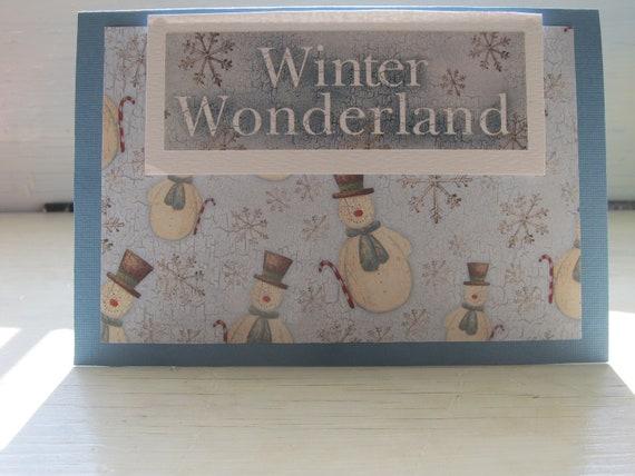 Handmade, Winter Wonderland, Winter Card, Snowman Card, Blue and White Card