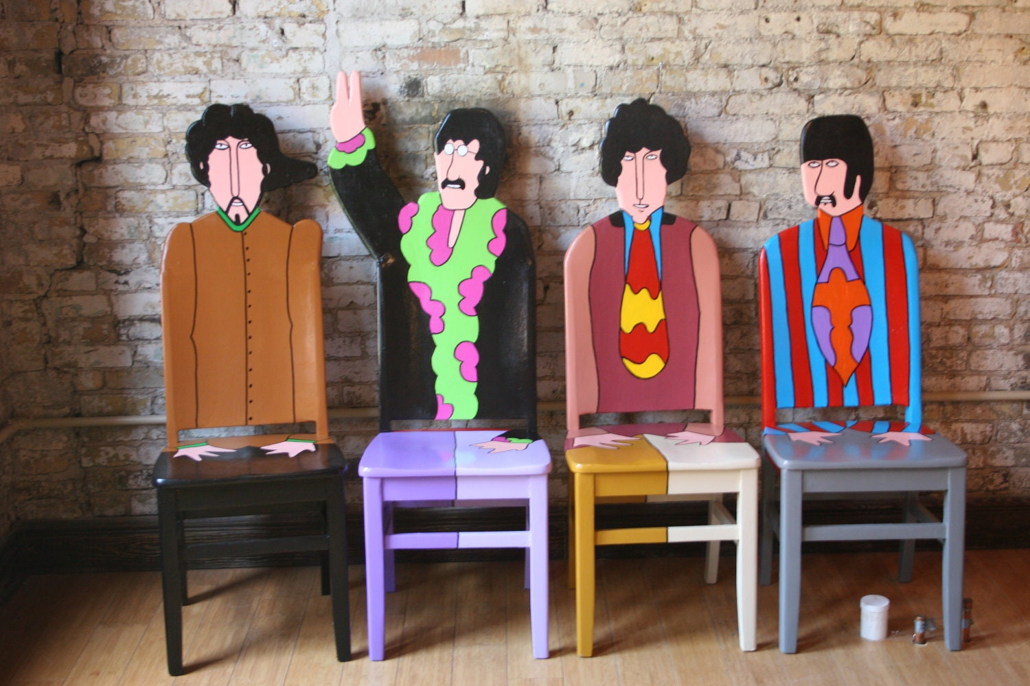 The Beatles Yellow Submarine Artwork upcycled chairs painted by Artist Todd Fendos. 2 Handle Bathroom Faucet