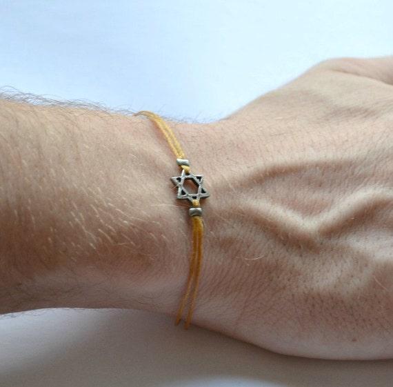 Star of David men's bracelet, silver and brown bracelet for men, Bar Mitzvah gift, Jewish, Hebrew Jewelry from Israel, judaica, hebrew