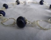 Colbalt blue Porcelain Beads with Silver Wire and Moonstone