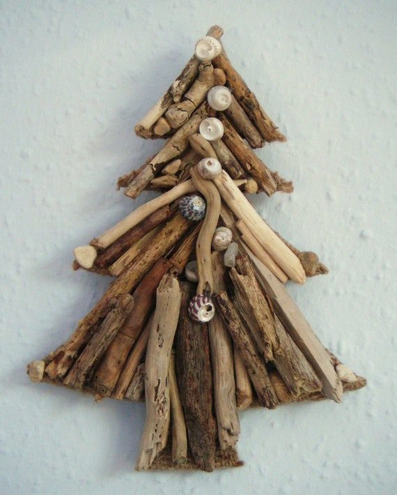 Items similar to handmade driftwood and shell christmas for Hanging driftwood christmas tree