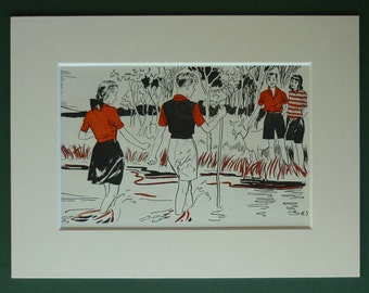 Original 1940s Children's Matted Print - Girl - Boy - Summer Day - River - Countryside - Red - Hiking - Stream - Vintage Picture - Goat