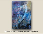 "Original Modern Art by williampaints large Abstract Painting 36x24 ""Connections 7"" Acrylic on canvas Ready to hang"