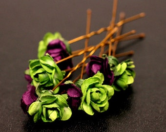 Woodland Fairy, Bridal Hair Accessories, Wedding Hair Accessory, Purple and Green Hair Flower, Floral Hairpins - Set of 5
