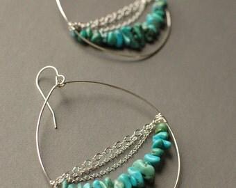 Turquoise: Silver Hoop Earrings