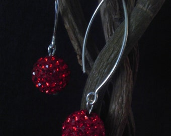 Swarovski disco ball earings - red