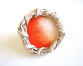 Tangerine Ombre Ring.  Adjustable. Oversized Fashion Ring.Hand Painted Cotton Canvas. Yagual Hoop. Gift idea. OOAK. - EcoYagual