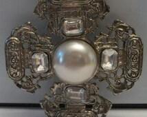 Vintage Averil Pearl Rhinestone Maltese Cross Brooch Pin 1940s