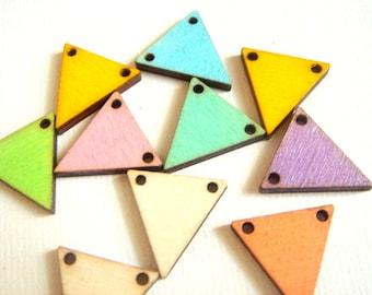 Pastel Geometric Triangles,Wood Triangles Tile for Jewelry,Geometric Jewelry