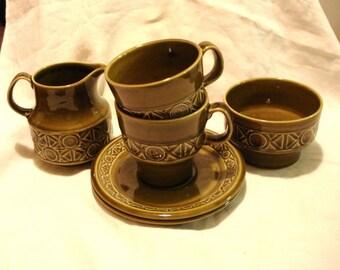 Clearance Zorba pattern Beswick England cream sugar 2 cups 2 saucers 1970 to 1973 cream pitcher sugar bowl