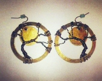 Tree of Life Hoop Earrings with Moon Accent
