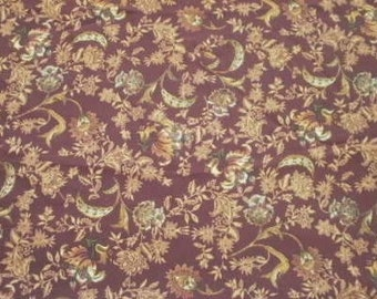 Brown Print Fabric - 3 Yards and 34 Inches