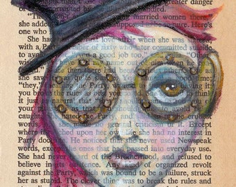 """Book Page Art, Steampunk Painting, Goth Fantasy Steampunk Girl with Top Hat and Goggles, Text Art Print 4x7, """"Steampunk Pollyanna"""""""