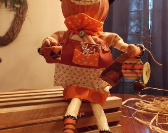 Primitive Halloween  Pumpkin Jack's Jack o Lanterns Folk Art Doll with Pumpkin Wagon