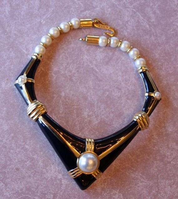 Rachel Zoe Style, Vintage Alexis Kirk Modern Geometric Enamel and Pearl Choker,