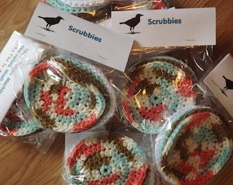 4 pk 100 % Cotton crochet facial/body scrubbies. Ready to ship