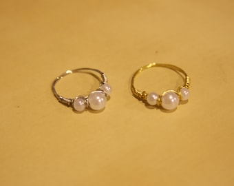 Wire-Wrapped Ring w/three Pearls (STYLE 2)