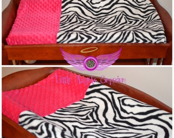 Zebra Print and Pink Changing Pad Cover