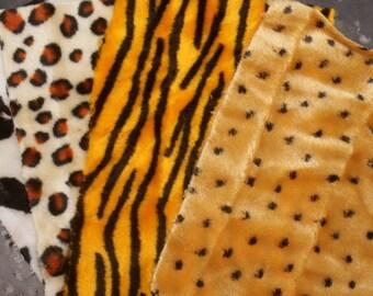 3 Leopard printed fur sheets
