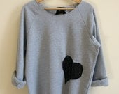 Medium Grey Sweatshirt with Black Lace Heart and Bow - Slouchy and Comfy