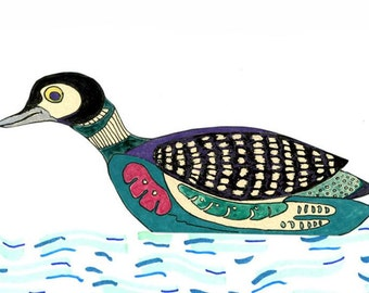 Greeting Card 5 x 7 Blank Inside with Loon illustration