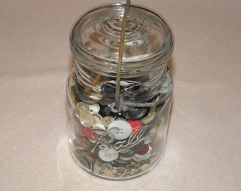 Nice Early Canning Pint Jar Filled with Old Buttons