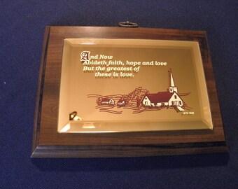 Scripture Plaque 1989 Gold Toned Mirror