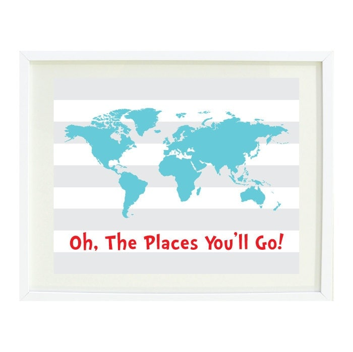 oh the places you 39 ll go quote art print 8x10 world. Black Bedroom Furniture Sets. Home Design Ideas