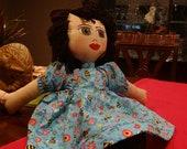 Homemade Little Muñecas- Blue Garden & Bee Dress