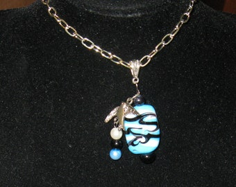 Blue, Black and White Pendent with Bird