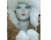 new unisex 100% alpaca fur winter ski white hat earflap