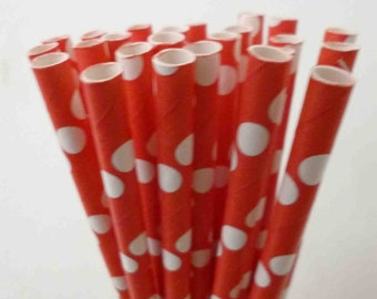 Red Paper Straws (25) RED Paper Straws Red Polka Dot Paper Straws: Valentine's Day Party, Diy Flags