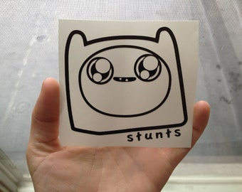 Adventure Time Sticker- Finn stunts face