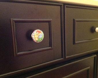 Painted wood knobs, Skeleton, Flower or Mermaid