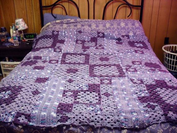 Crochet Multi Size Granny Square Queen Bed Blanket