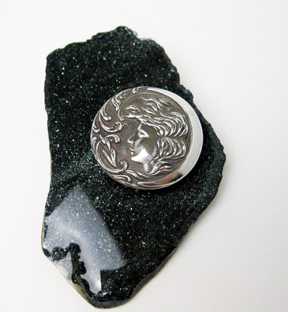 Authentic 1890's American Art Nouveau Silver Pin with Moon Goddess Portrait.