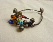 Brass Bells with Little Colorful Beads Bracelet