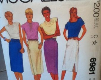 "McCall's Vintage Skirt Pattern 6981 Size: 10, Waist 25"", Hip 34"""
